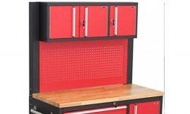 Верстак металлический передвижной 600х1080х1215мм (шкаф навесной трехстворчатый: 230х375х1060мм, перфорация: 900х1060мм, деревянная столешница: 40х580