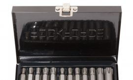 Набор бит RIBE c битодержателем,15пр. 1/2»(L:30/75мм,M6,М7,М8,М9,М10,М12,M14), в металлическом кейсе