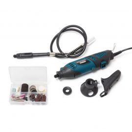 Гравер электрический ручной с набором аксессуаров и гибким валом(170W, 220V, 8000-35000об/мин, цанга 2.3, 3.2мм), в кейсе