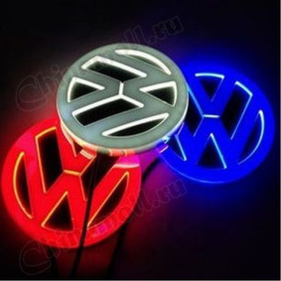Значок с подсветкой 3D VW RED