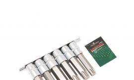 Набор головок-бит разнопрофильных Spline&Torx, 6 пр.(М16, М18,Т70,Т80,Т90,Т100, L-100мм) 1/2», на планке