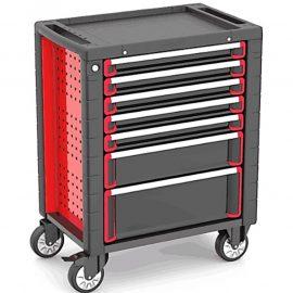 Тележка инструментальная 7-и полочная (красная) с пластиковой защитой корпуса + 2 боковых перфорации, 460х730х930мм (размеры полок: 55х395х530мм-5шт,