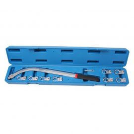 Ключ накидной удлиненный изогнутый в наборе со сменными насадками 10пр. (12, 13, 14, 15, 16, 17, 18, 19мм), в кейсе