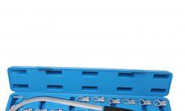 Ключ накидной удлиненный изогнутый в наборе со сменными насадками 15пр. (12,13, 14, 15, 16, 17, 18, 19мм, Е10, Е12, Е14, Е16, Е18), в кейсе