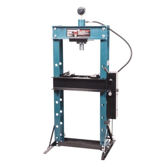 Пресс гидравлический с манометром напольный 30т, ручной/ножной привод (раб. высота:0-975мм, раб. ширина:520мм, раб. стол:290х520мм, ход штока:150мм)