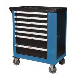 Тележка инструментальная 7-ми полочная (синяя), с дополнительной боковой секцией, 600х840х980 (полки:65х400х530-5шт,140х400х530мм-2шт)
