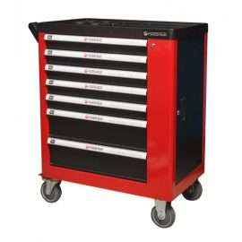 Тележка инструментальная 7-ми полочная (красная), с дополнительной боковой секцией, 600х840х980 (полки:65х400х530-5шт,140х400х530мм-2шт)