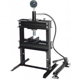 Пресс настольный гидравлический с манометром и выносным насосом 12т (раб. высота: 0-340мм, раб. ширина: 400мм, раб. стол: 185х400мм, ход штока: 135мм)