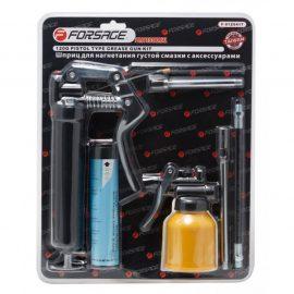 Шприц для нагнетания густой смазки с жестким и гибким наконечниками в комплекте с тубой и масленкой 120гр., в блистере