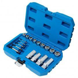 Набор инструментов для поврежденных болтов и гаек, 18пр.(головки-экстракторы:10-17,19мм, экстракторы:М3-М18, шпильковерты:6,8,10,12мм), в кейсе