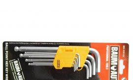 Набор ключей 6-гранных Г-образных длинных с шаром 9пр. (1.5, 2, 2.5, 3, 4, 5, 6, 8,10мм), в пластиковом держателе
