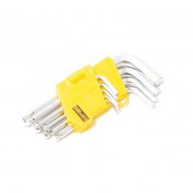 Набор ключей 6-гранных Г-образных коротких с шаром 9пр. (1.5, 2, 2.5, 3, 4, 5, 6, 8,10мм), в пластиковом держателе