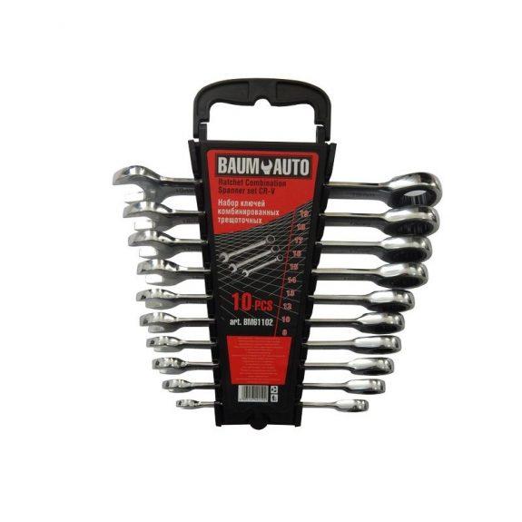 Набор ключей комбинированных трещоточных 10пр. (8,10,12-19мм) в пласт. держателе