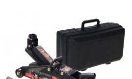 Домкрат подкатной 2,5т с фиксацией (h min 140мм, h max 387мм)в кейсе с резиновой накладкой