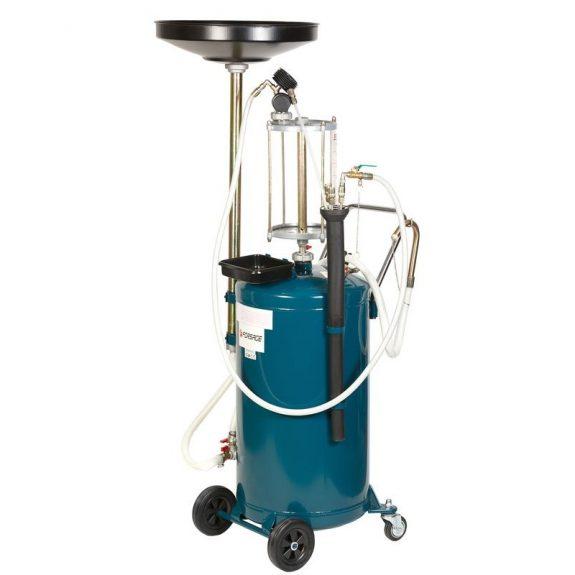 Установка пневматическая для удаления отработанного масла перекатная с индикатором заполнения (бак-90л,предкамера-10л, воронка-10л,5 щупов,max t-60гр)