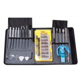 Набор инструментов для точных работ,73пр(пинцеты, лопатки, линейка150мм, нож канцелярский, захват, биты Т,ТН,Н,SL,PH,TS, спец. биты,головки)на полотне
