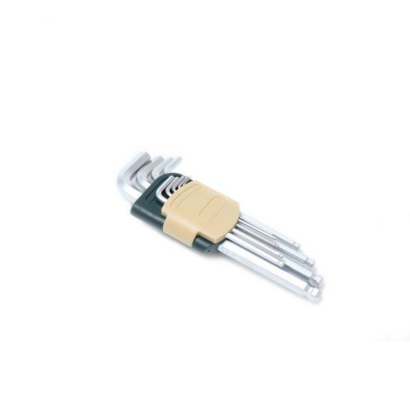Набор ключей Г-образных 6-гранных длинных с шаром 9пр. (1.5, 2, 2.5, 3, 4, 5, 6, 8, 10мм)в пластиковом держателе