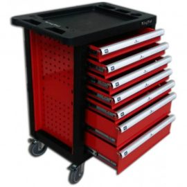 Тележка инстр.7-и полочная(красная) (980х770х460) с инструментом 220пр с пластик. защитой корпуса+2 боковые перфорации и противоскользящим ковриком