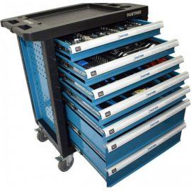 Тележка инструментальная 7-и полочная(синяя) укомплектованная инструментом 220пр с пластиковой защитой корпуса+2 боковые перфорации