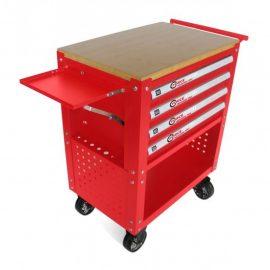 Тележка инструментальная 4-полочная(красная)с деревянной столешницей+2боковые перфорации и лоток,450х760х910(полки:65х400х530-4шт,360х440х675-секция)