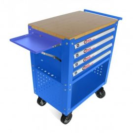 Тележка инструментальная 4-полочная(синяя)с деревянной столешницей+2боковые перфорации и лоток,450х760х910(полки:65х400х530-4шт,360х440х675-секция)