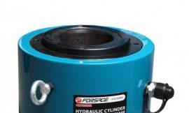 Цилиндр гидравлический двойного действия со сквозным отверстием в штоке150т(ход штока-100мм,Ø штока-166мм,Ø отв.-100мм,общий Ø-258мм, L-257мм, 700bar)