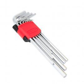 Набор ключей Г-образных 6-гранных экстра длинных, 11пр. (1.5, 2, 2.5, 3, 4, 5, 6, 7, 8, 10, 12мм)в пластиковом держателе