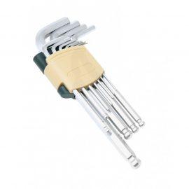 Набор ключей Г-образных 6-гранных длинных с шаром, 11пр.(1.5, 2, 2.5, 3, 4, 5, 6, 7, 8, 10, 12мм)в пластиковом держателе