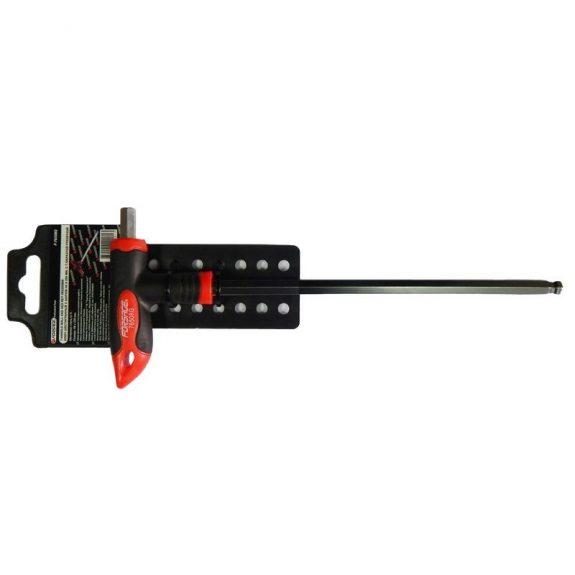 Ключ Т-образный 6-гранный с шаром и прорезиненной рукояткойH4x100мм, на пластиковом держателе