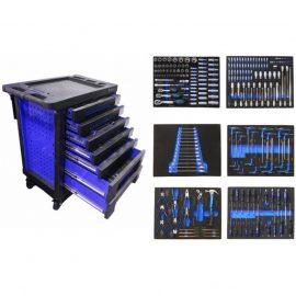 Тележка с набором инструментовCr-V 248пр,(синяя)с пластиковой защитой корпуса+2боковые перфорации460х770х980(полки:65х400х530-5шт,140х400х530мм-2шт)