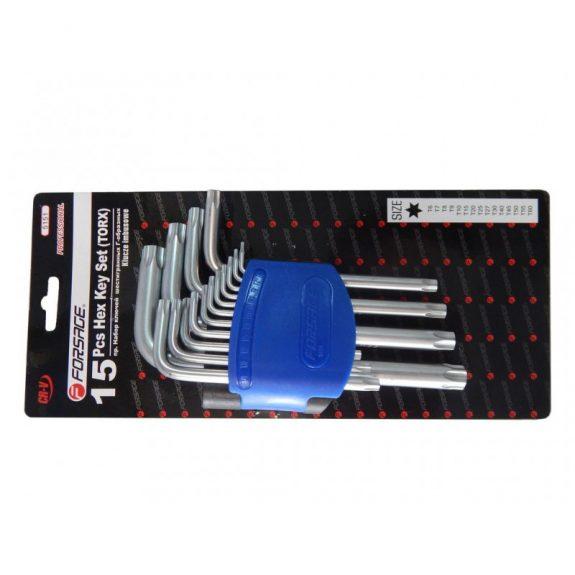 Набор ключей TORX Г-образных, 15пр.(Т6, T7, T8, T9, Т10, Т15, Т20, Т25, Т27, Т30, Т40, Т45, Т50, Т55, Т60)в пластиковом держателе