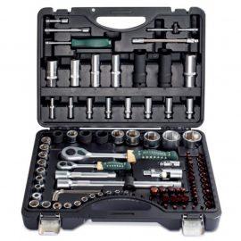 Набор инструментов 94+6пр.1/4»,1/2»(6гр.)+(головка-бита1/4»:T40,биты 5/16»:М5,6,8,10,12,14,головка 1/2»8мм,ключиГ-обр.:4,5,6мм,T20H,T25H)
