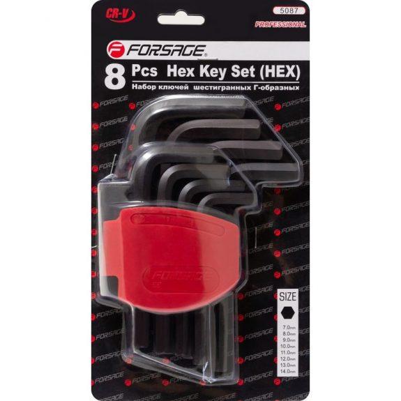 Набор ключей Г-образных 6-гранных, 8пр.(7-14мм)в пластиковом держателе