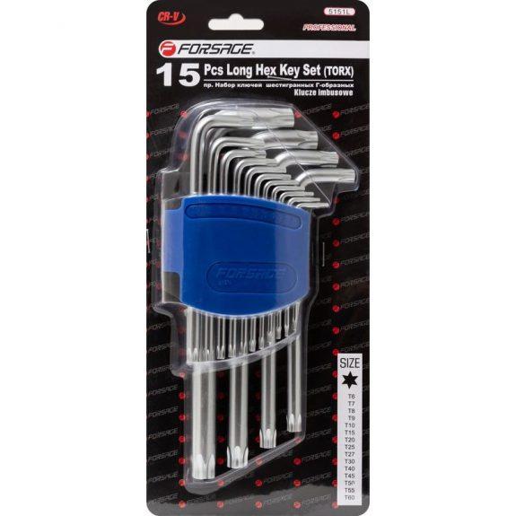 Набор ключей Г-образных TORX длинных, 15пр.(Т6, Т7, Т8, Т9, Т10, Т15, Т20, Т25, Т27, T30, T40, T45, T50, T55, T60)в пластиковом держателе