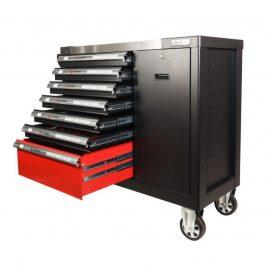 Тележка инструментальная 7-и полочная(черная) с набором инструментов 288пр, доп.-ой боковой секцией, металлич.-й накладкой на стол 990х1140х450мм