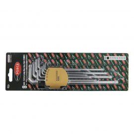 Набор ключей TORX Г-образных экстра длинных, 9пр. (Т10, Т15, Т20, Т25, Т27, Т30, Т40, Т45, Т50) в пластиковом держателе