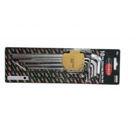Набор ключей Г-образных 6-гранных экстра длинных 10пр. (1.27, 1.5, 2, 2.5, 3-6, 8, 10мм) в пластиковом держателе