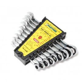 Набор ключей комбинированных трещоточных 9пр.(8,10,12,13,14,16,17,18,19мм) в пластиковом держателе