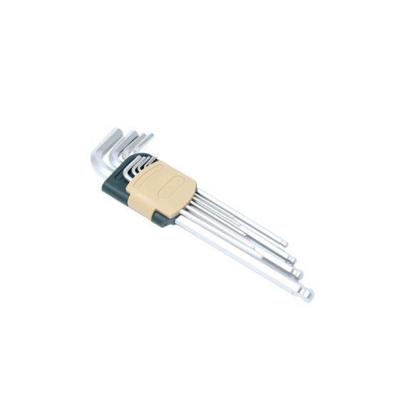 Набор ключей Г-образных 6-гранных экстра длинных с шаром 9пр. (1.5, 2, 2.5, 3, 4, 5, 6, 8, 10мм)в пластиковом держателе