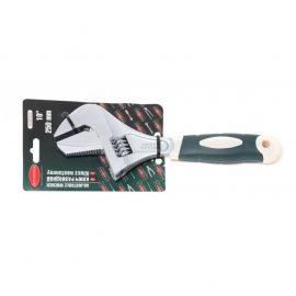 Ключ разводной двухзахватный с переставной губкой и прорезиненной рукояткой 10»-250мм (захват 50мм), на блистере