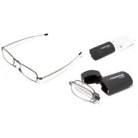 Очки для чтения компактные (+2.50, металлическая оправа), в пластиковом футляре