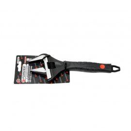 Ключ разводной с прорезиненной рукояткой 8»-200мм(захват 0-35мм, кованная сталь), на блистере
