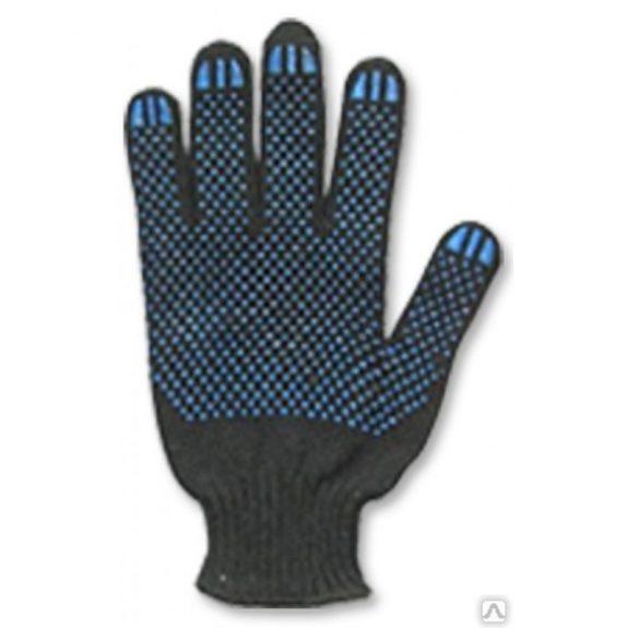 Перчатки трик. х/б 7кл с ПВХ (черные) Арт.50(10шт)