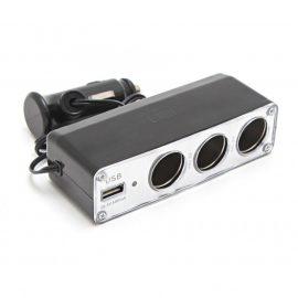 Разветвитель прикуривателя KSU-206 (3 гнезда, 1 USB 0.5А)