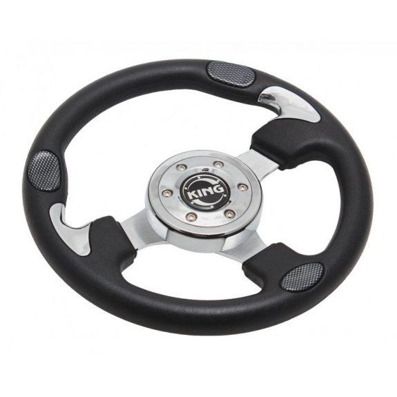 Руль спортивный JY9047H (black/chrome/carb)