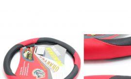 Чехол руля кожа 9731 blk/red-М (10000220)