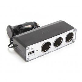 Разветвитель прикуривателя PS-357(WF-0096) (3 гнезда, 1 USB 0.5А)