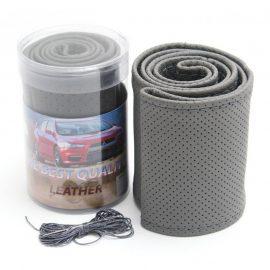 Чехол руля кожа leather grey-M