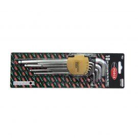 Набор ключей Г-образных 6-гранных экстра длинных с шаром, 10пр. (1.27, 1.5, 2, 2.5, 3-6, 8, 10мм) в пластиковом держателе