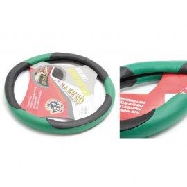 Чехол руля кожа TS-9731E (Black/green)-M